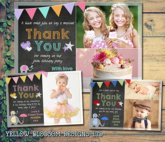 Personalised Photo Cards Chalkboard Bunting Primary Colours Stars