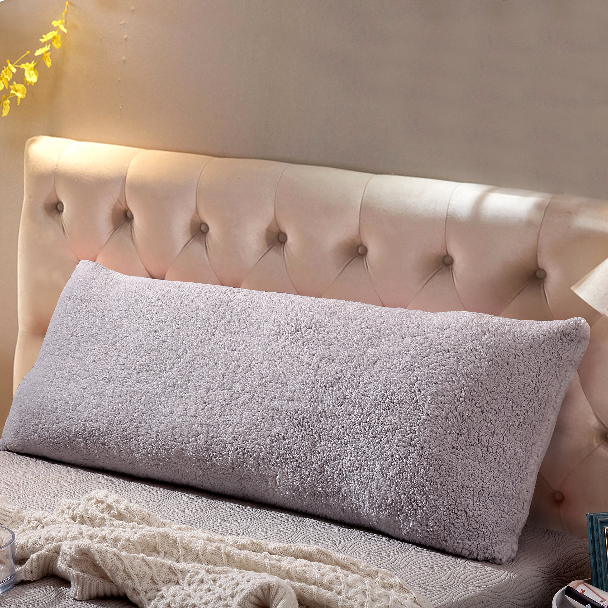 Reafort Ultra Soft Sherpa Body Pillow Cover/Case with Zipper Closure 21''x54'' (Silver Grey, 21''X54'')