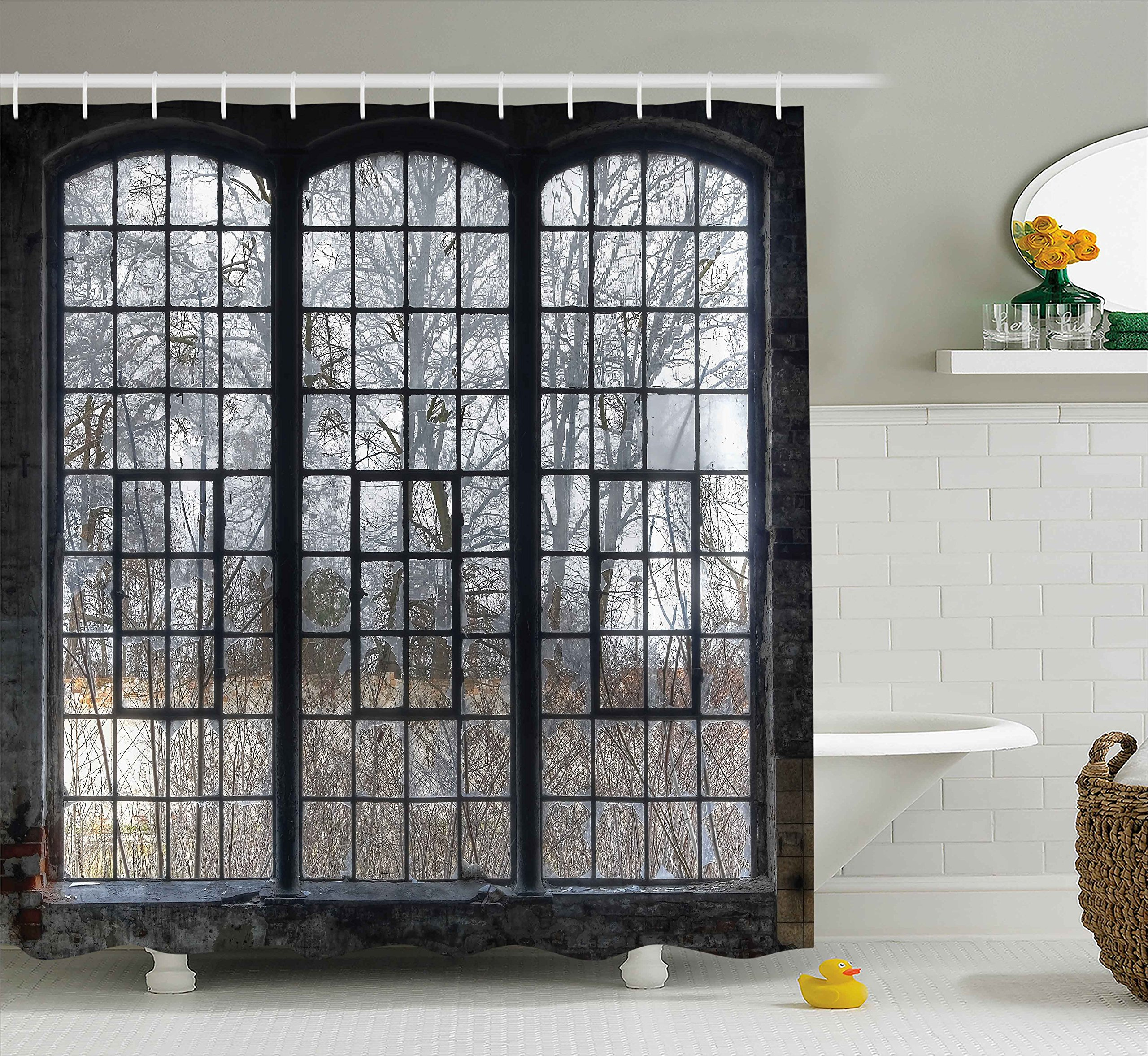 Ambesonne Industrial Decor Collection, Old Large Window with Broken Panes in a Deserted Hall near Forest Trees Winter Time Style, Polyester Fabric Bathroom Shower Curtain Set with Hooks, Grey