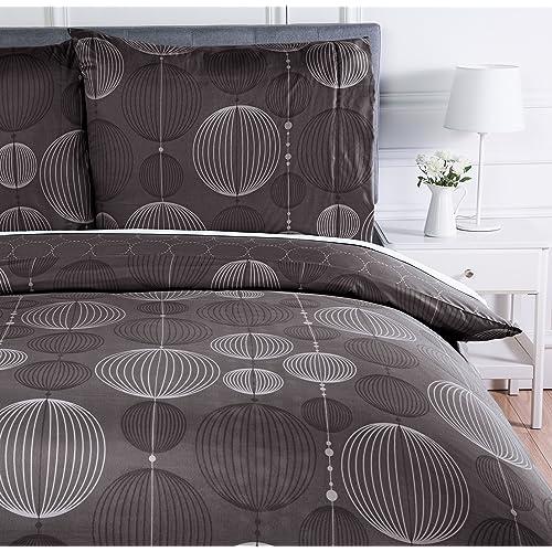 AmazonBasics Parure de lit avec housse de couette en microfibre, 140 x 200 cm, Gris (Industrial Grey)