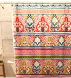 "Blue Pink Green Boho Fabric Shower Curtain: Floral Damask with Geometric Border Design, Multi Colored, 70"" x 72"" inch"