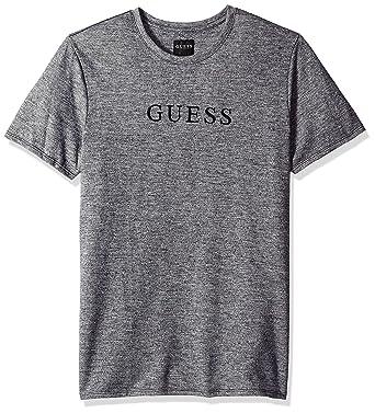 a502d7d3c9e108 GUESS Men's Short Sleeve Cale Jersey Logo Crew Neck Shirt   Amazon.com