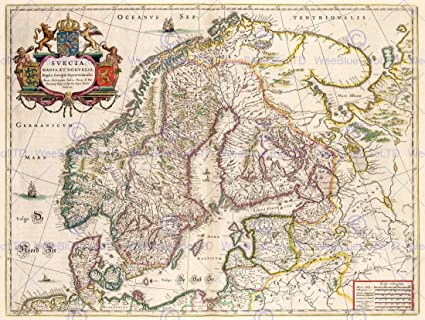 Amazoncom MAP ANTIQUE SCANDINAVIA NORWAY SWEDEN FINLAND 30X40 CM
