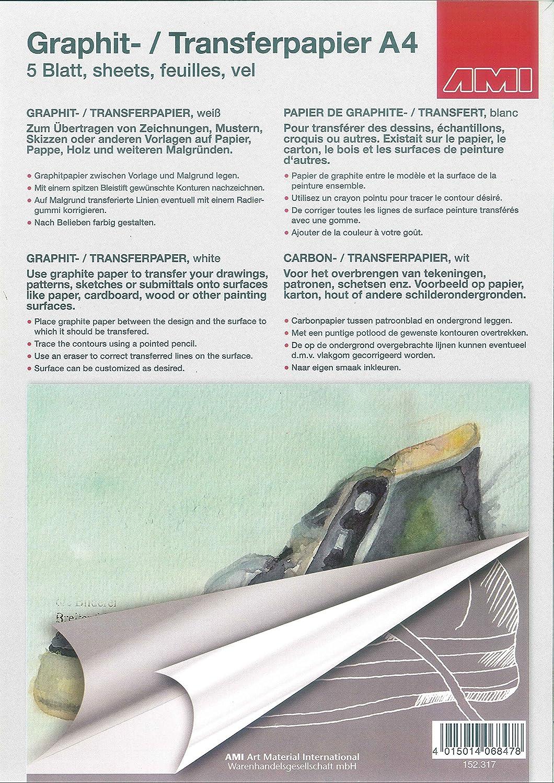 Graphitpapier Transferpapier A4 5 Blatt weiß: Amazon.de: Spielzeug