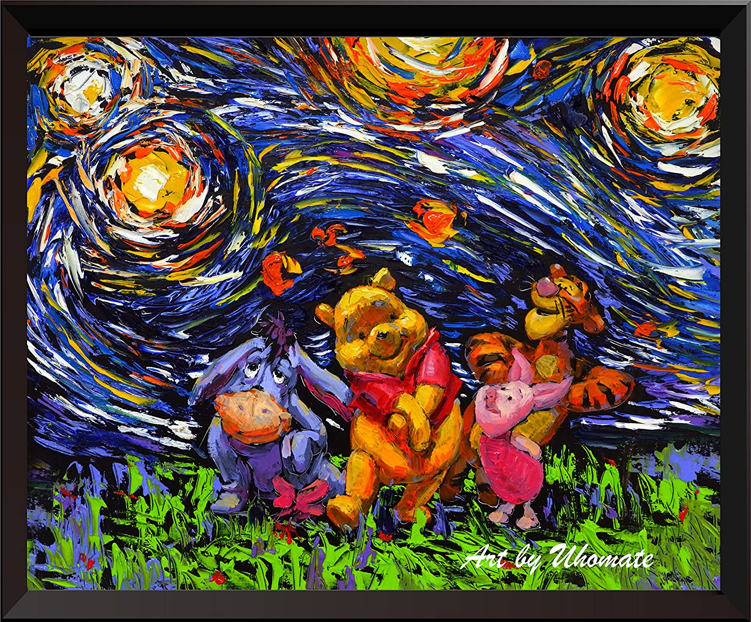 Uhomate Winnie The Pooh Winnie Pooh Inspired Vincent Van Gogh Starry Night Posters Home Canvas Wall Art Nursery Decor Living Room Wall Decor A014 (8X10)