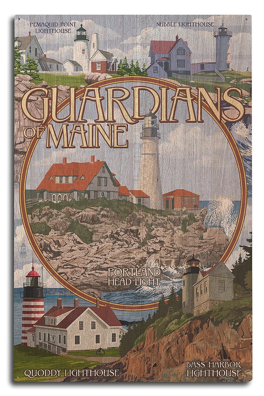Guardians of Maine (ポートランドヘッド灯台センター) 10 x 15 Wood Sign LANT-43942-10x15W B07366BGMQ  10 x 15 Wood Sign