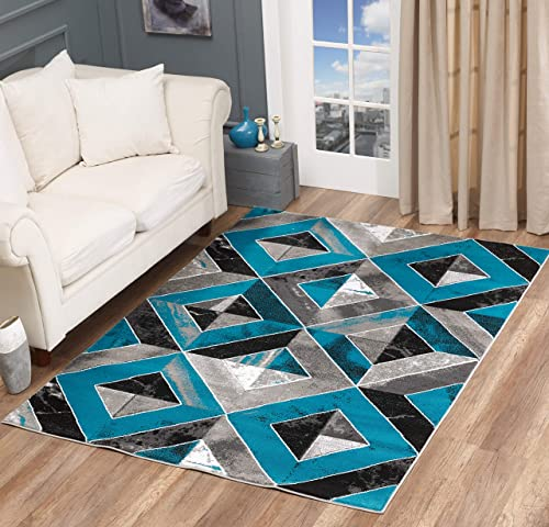 GLORY RUGS Area Rug Abstract Diamond Modern Modern Distressed Carpet Bedroom Living Room Contemporary Dining Accent Sevilla Collection 5504A 5×7