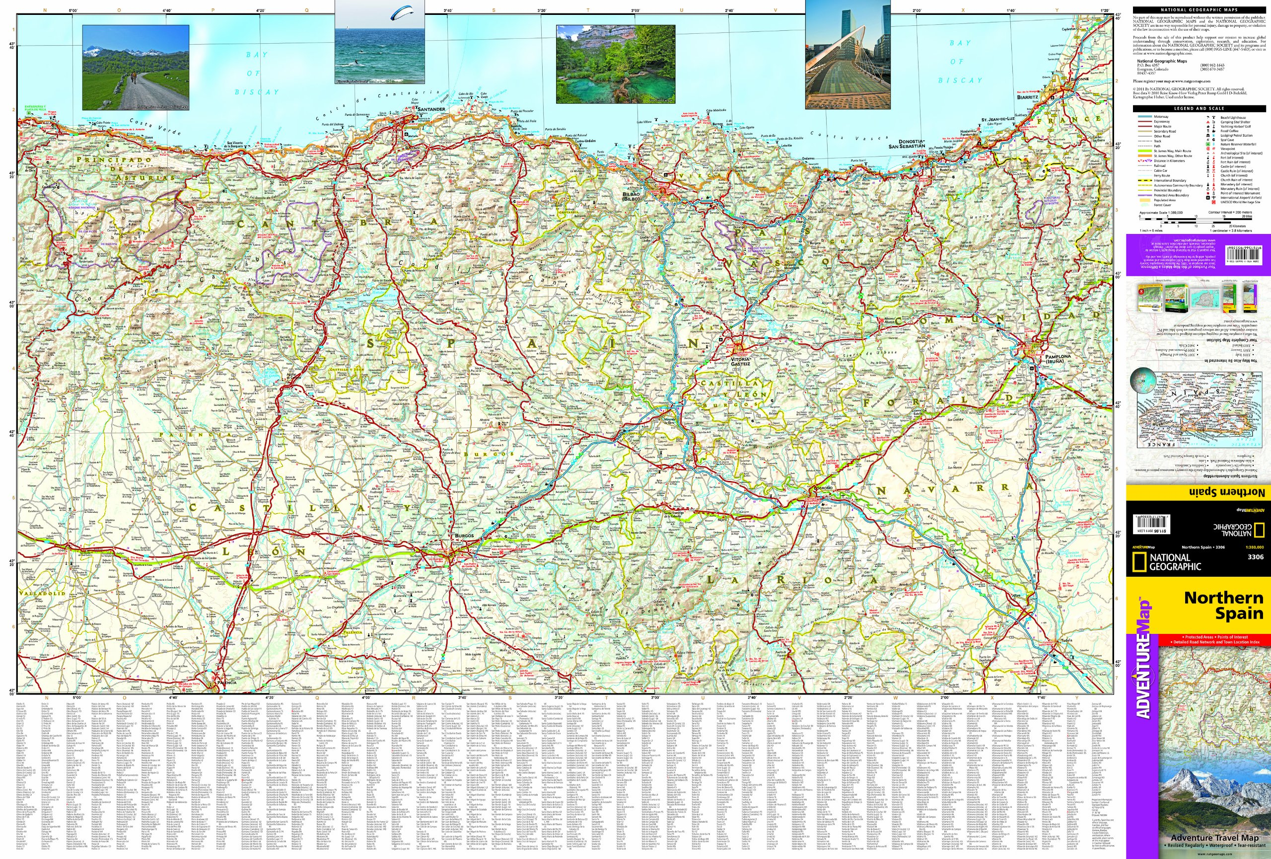 Map Of North Spain Coast.Northern Spain National Geographic Adventure Map National