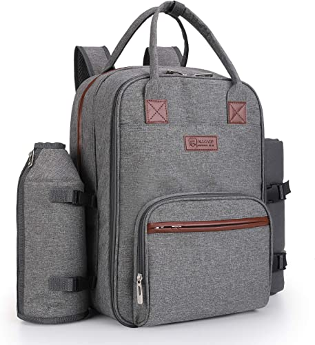 ALLCAMP Picnic Backpack for 4 Person Set Pack with Insulated Waterproof Pouch for Family Outdoor Camping Grey