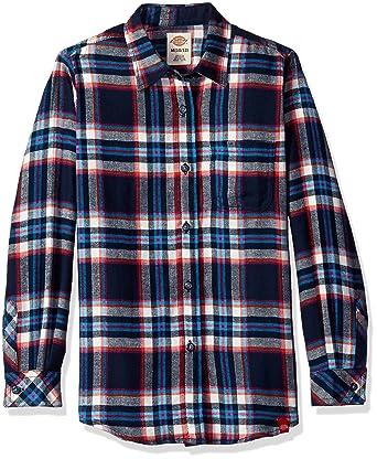 5f778e7f40e Dickies Women s Big Girls  Long Sleeve Flannel Shirt at Amazon Women s  Clothing store