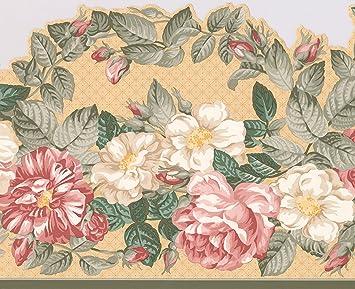 exquis Floral Rose et blanc Pivoine Fleurs Frise pour papier peint ...