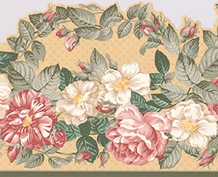 Exquisite Floral Pink And White Peony Flowers Wallpaper Border For