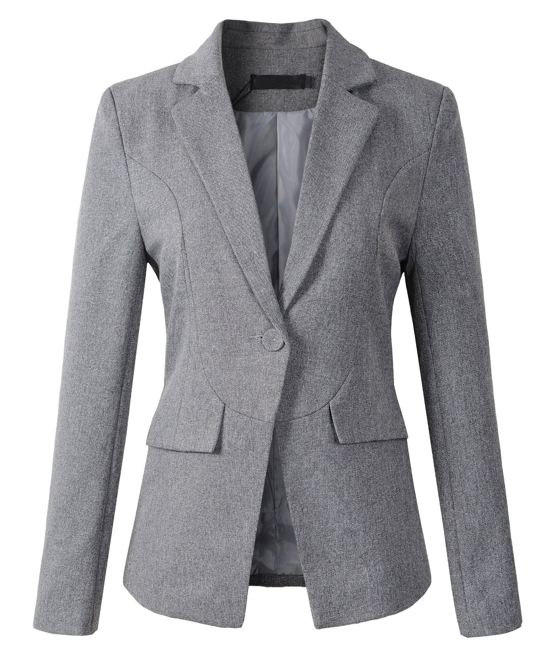 Womens Formal One Button Boyfriend Blazer Jacket (Large, 1513Grey)