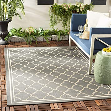 Amazon Com Safavieh Courtyard Collection Cy6918 Trellis Indoor Outdoor Non Shedding Stain Resistant Patio Backyard Area Rug 5 3 X 7 7 Anthracite Beige Furniture Decor