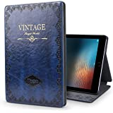 "New iPad 9.7 2017 Case,JGOO ""Magic World Series"" Modern Vintage Book Style Case for New iPad 9.7 Inch(2017 Release),Silm PU Leather Smart Case w/ Auto Sleep Wake & Multi Angle Stand,Blue"