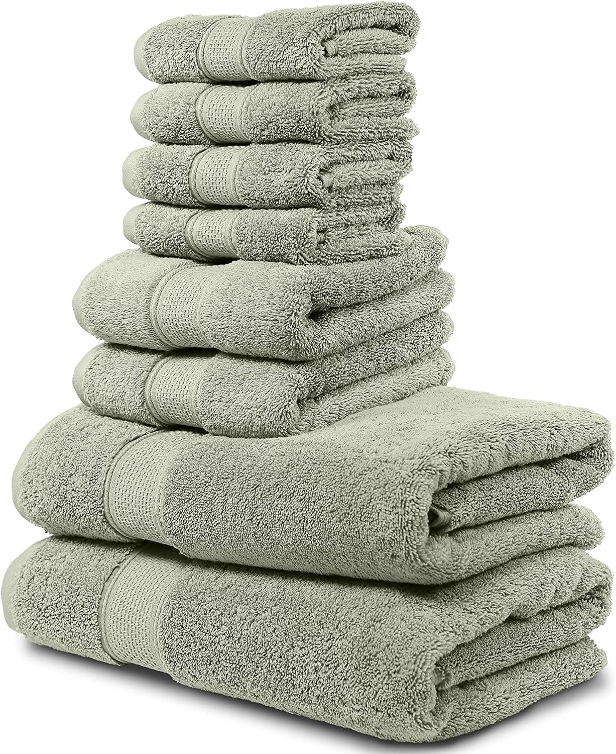 """Maura 8 Piece Bath Towel Set.2 Extra Large 30""""x56"""" Premium Turkish Bath Towels, 2 Hand Towels, 4 Washcloths. Thick, Soft, Plush and Highly Absorbent Luxury Hotel & Spa Quality Towels -Sage Green"""