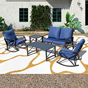 Patio Festival ® Conversation Furniture Set,5 Pcs Cushioned All Weather Metal Outdoor Furniture Sectional with Loveseat,2 Padded Rocking Chairs,Coffee Table,Bistro Table (5 PCs, Blue)