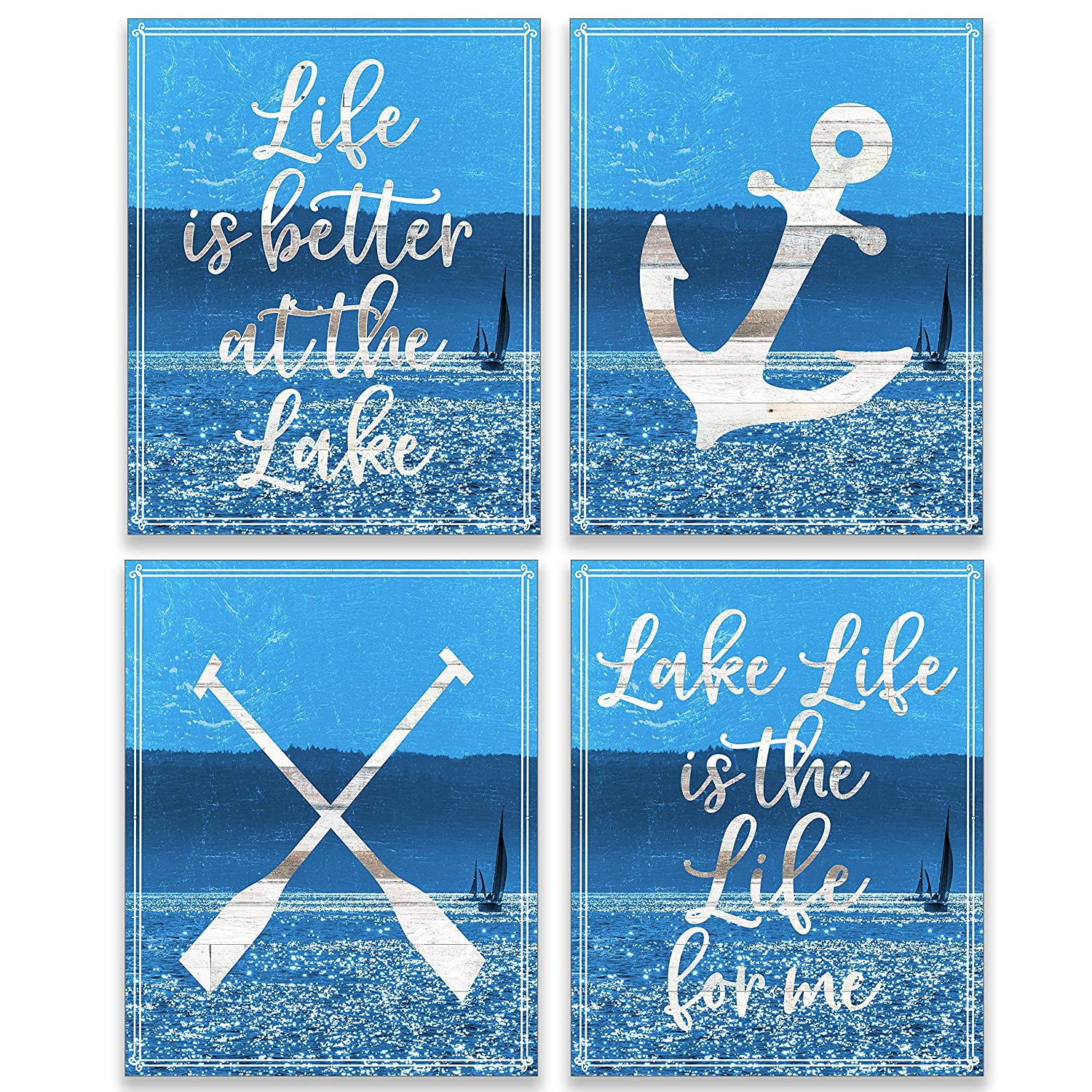 Amazon Com Lake House Decor Nautical Wall Country Cottage Accessories Lake Life Lakehouse Cabin Sign Lake Theme Home Signs Vintage Bathroom Decorations Set Of 4 8x10 Unframed Handmade