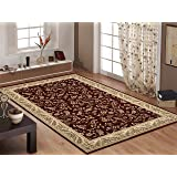 """Rugshop Traditional Floral Area Rug, 5' 3"""" x 7' 3"""", Red"""