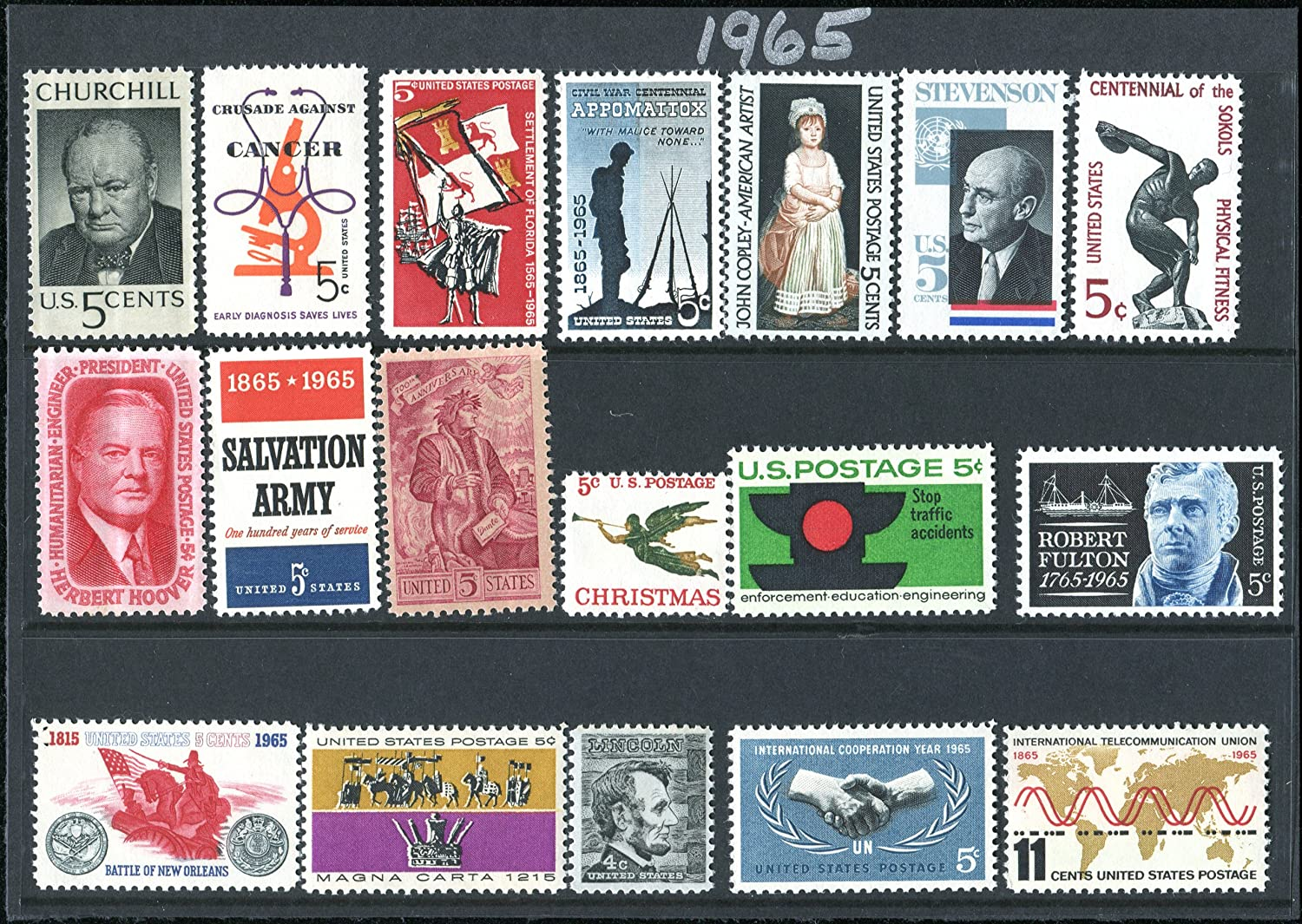 COMPLETE MINT SET OF POSTAGE STAMPS ISSUED IN THE YEAR 1965 BY THE U.S. POST OFFICE DEPT. (18 Total Stamps)