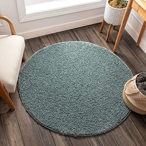 Solid Shag Light Blue Modern Geometric Plain Plush 8 Round 7'10″ Round Area Rug Easy to Clean Stain/Fade Resistant Thick Soft