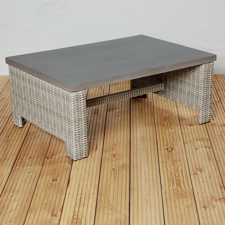 Wholesaler GmbH Exklusiver Poly Rattan Gartentisch Couchtisch für die Terrasse oder den Garten - Gartenmöbel für die Loungegarnitur in braun Tisch Poly Stone Platte grau