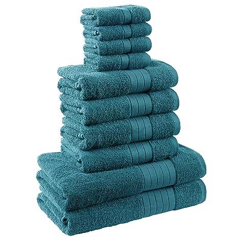 Dreamscene Lujo Suave Toallas de regalo, algodón, azul, 10 unidades)
