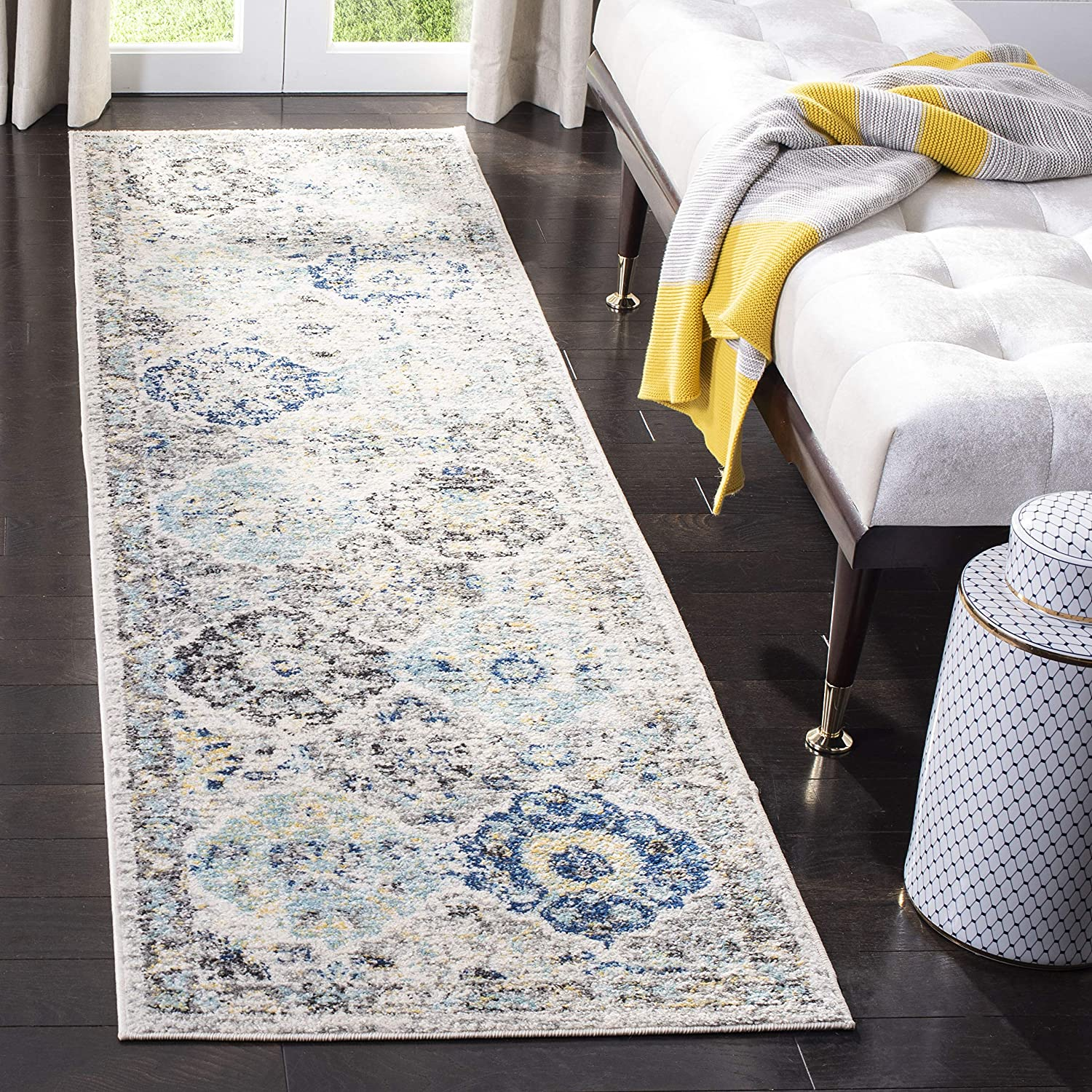 "Safavieh Madison Collection MAD611A Bohemian Chic Vintage Distressed Runner, 2' 3"" x 8', Ivory/Aqua"