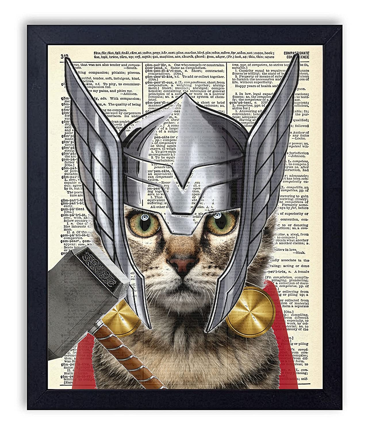 Amazon Thor Cat Super Hero Vintage Upcycled Dictionary Art Print 8x10 Inches Unframed Handmade