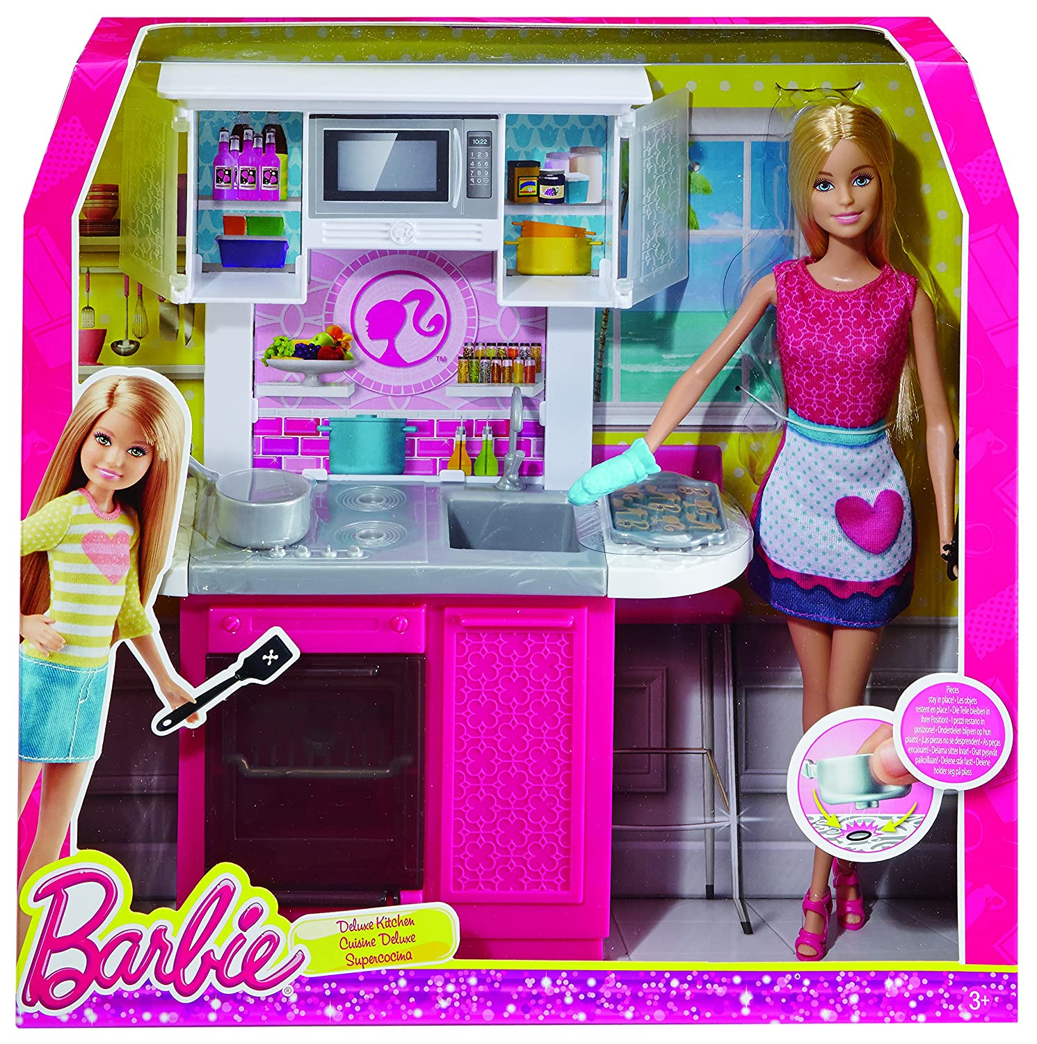 Buy Barbie Doll And Deluxe Kitchen Set Multi Colour Online At Low