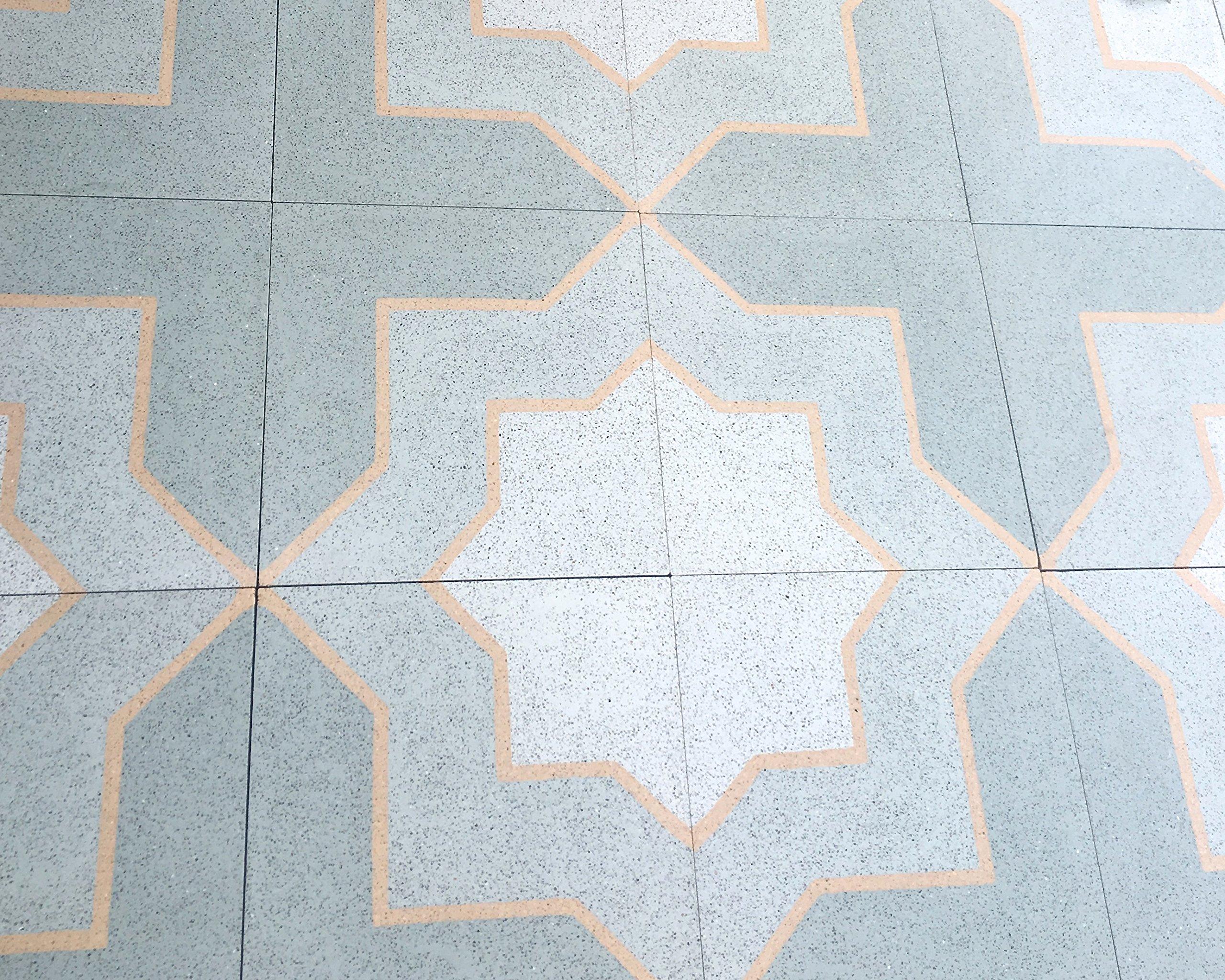 Squarefeet Depot Crossroads Encaustic Blue 8x8 Honed Finish Cement Tile Floor