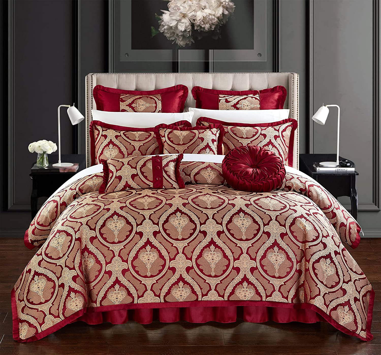 Chic Home Jodamo 9 Piece Comforter Set Jacquard Scroll Faux Silk Bedding with Pleated Flange - Bed Skirt Decorative Pillows Shams Included Queen Red