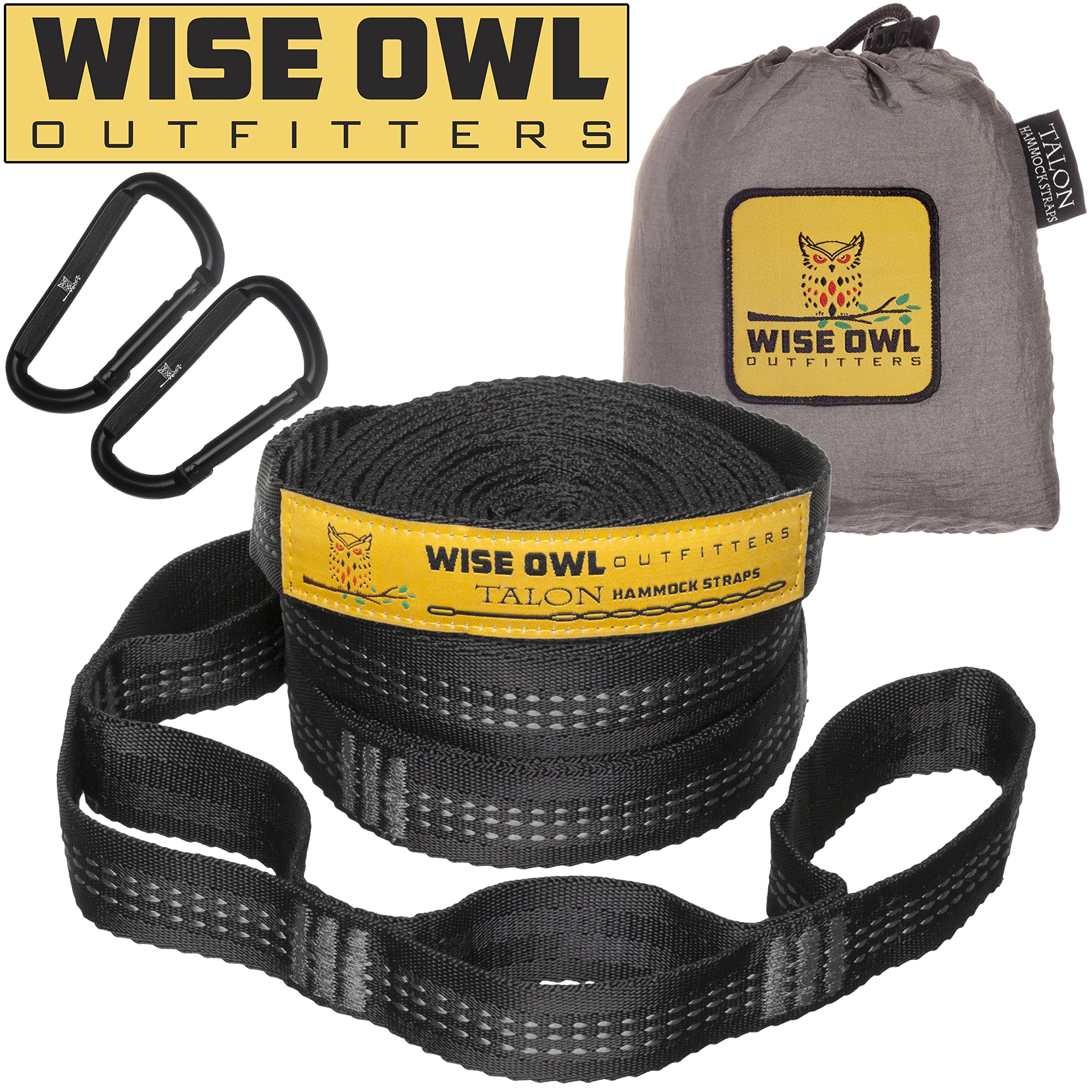 Wise Owl Outfitters Hammock Straps Combined 20 Ft Long, 38 Loops with 2 D Carabiners - Easily Adjustable Tree Friendly Must Have Accessories & Gear for Hanging Camping Hammocks Like Eno Grey Stitch by Wise Owl Outfitters