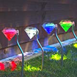 Babz 4 x Stainless Steel Solar Diamond Stake Light - Colour Changing LED