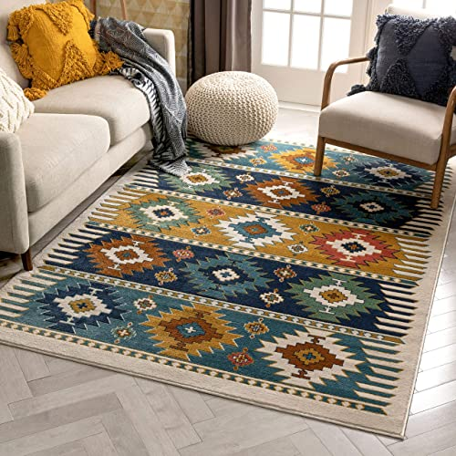 Well Woven Noble Blue Southwestern Medallion Area Rug 8×10 7 10 x 9 10
