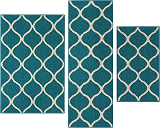 product image for Maples Rugs Rebecca [3pc Set] Non Kid Accent Throw Rugs Runner [Made in USA] for Entryway and Bedroom, Teal/Sand