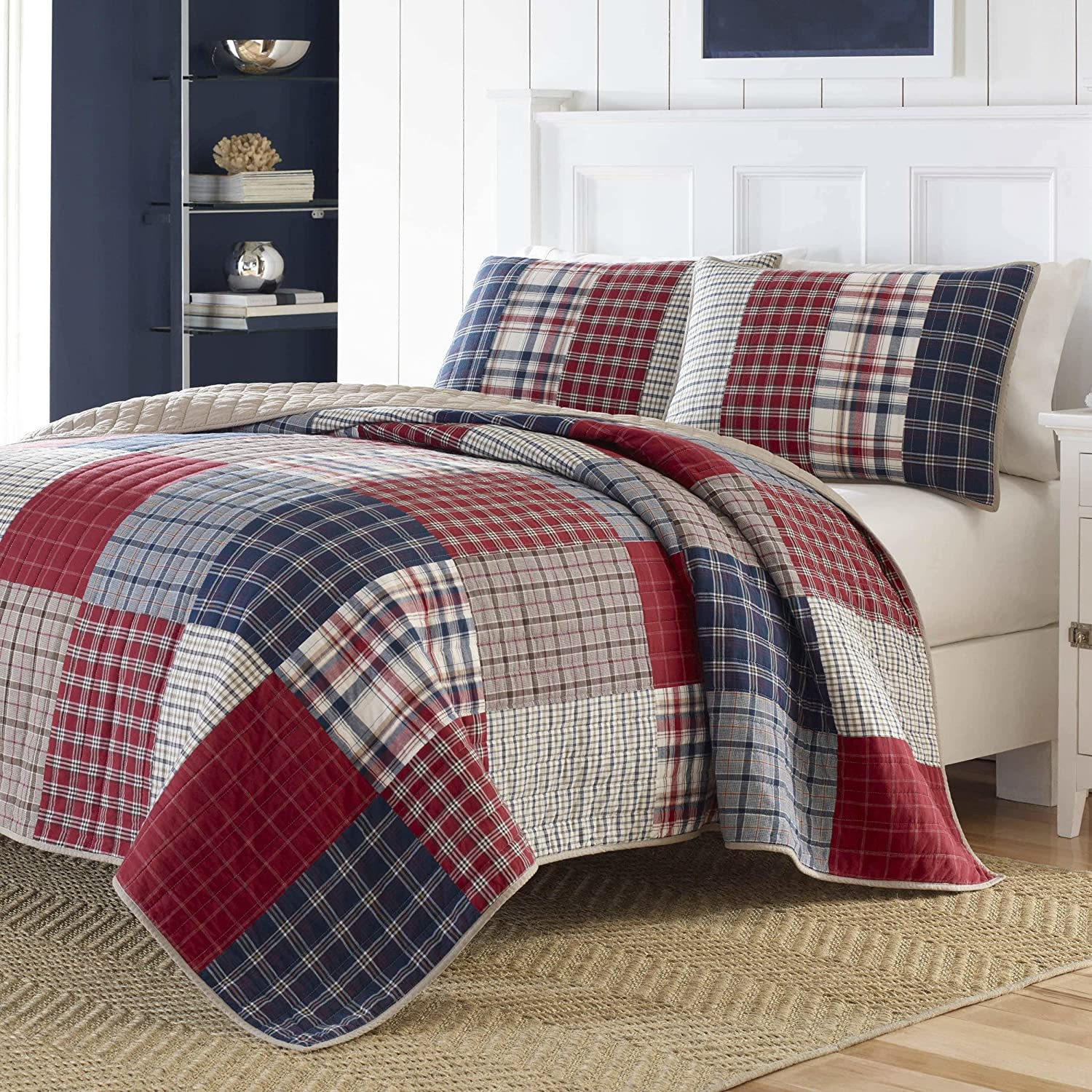 1 Piece Navy Blue Red Patchwork Plaid Pattern Quilt King Size, Luxurious White Khaki Tartan Gingham Checkered Reversible Bedding Nautical Coastal Check Design, Casual Style, Bold Colors, Soft Cotton