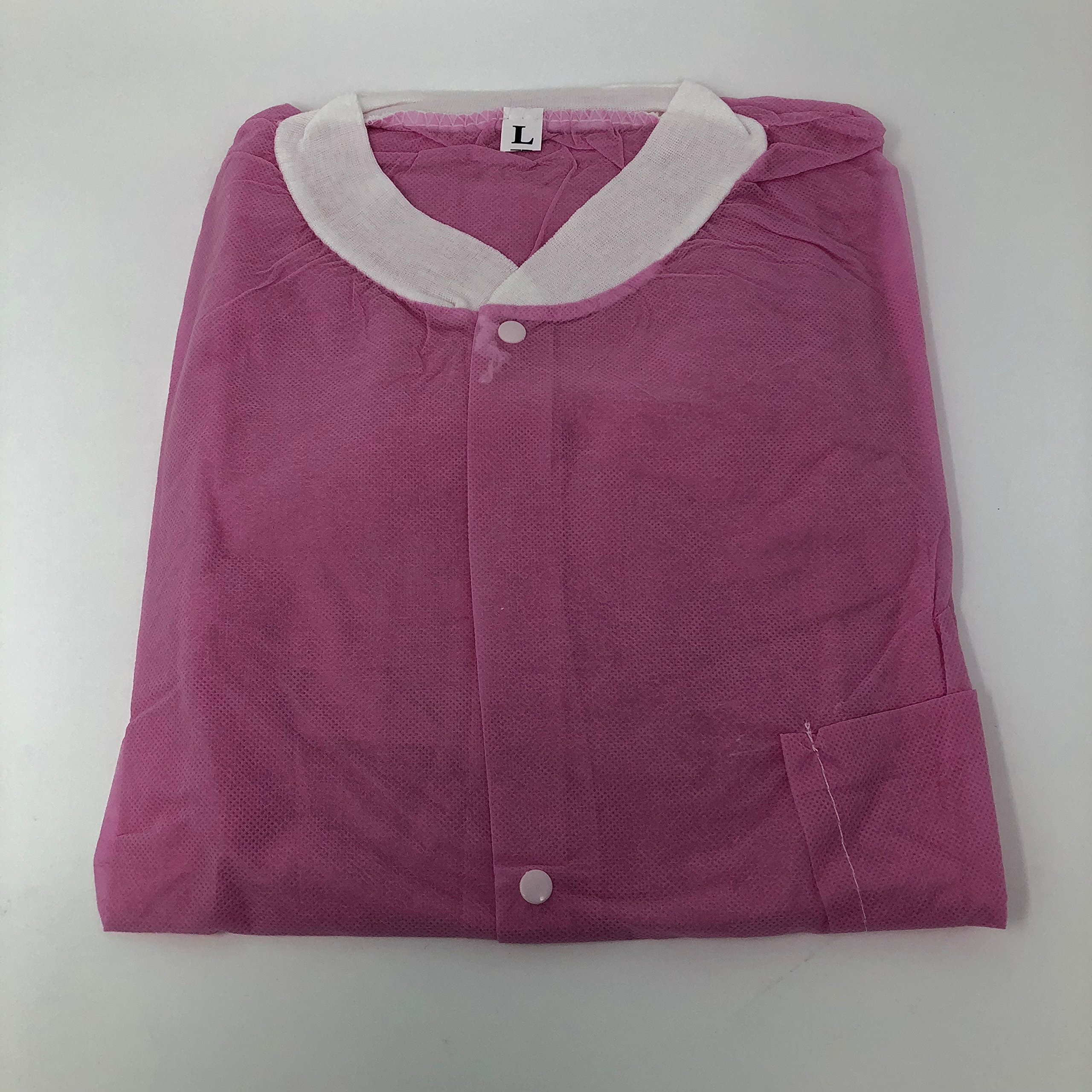 Professional Smooth and Soft Non-Woven Disposable Lab Jacket w/ Knit Cuffs and Collar, 5 Snap-on Buttons and 2 Large Front Pockets. Latex Free and Fluid Resistant. 10 PCS / PACK (Medium, Pink)