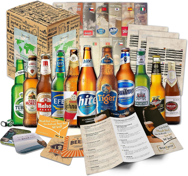 egalo de 12 Cervezas del mundo para el Día del Padre + envoltorio de regalo + Instrucciones de degustación