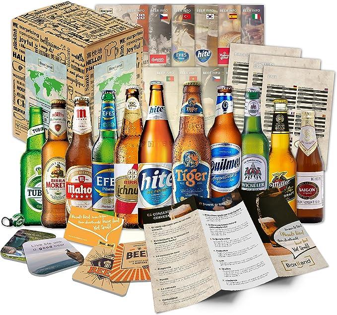 egalo de 12 Cervezas del mundo para el Día del Padre + envoltorio de regalo + Instrucciones de degustación: Amazon.es: Alimentación y bebidas