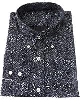 Shirt Black Paisley Pattern Men's Classic Mod Vintage Design