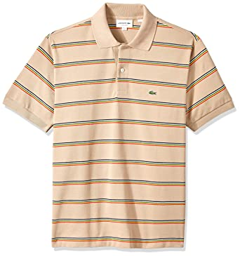 0051103f42 Lacoste Men's Short Sleeve Striped Pique Regular Fit Polo, PH4565