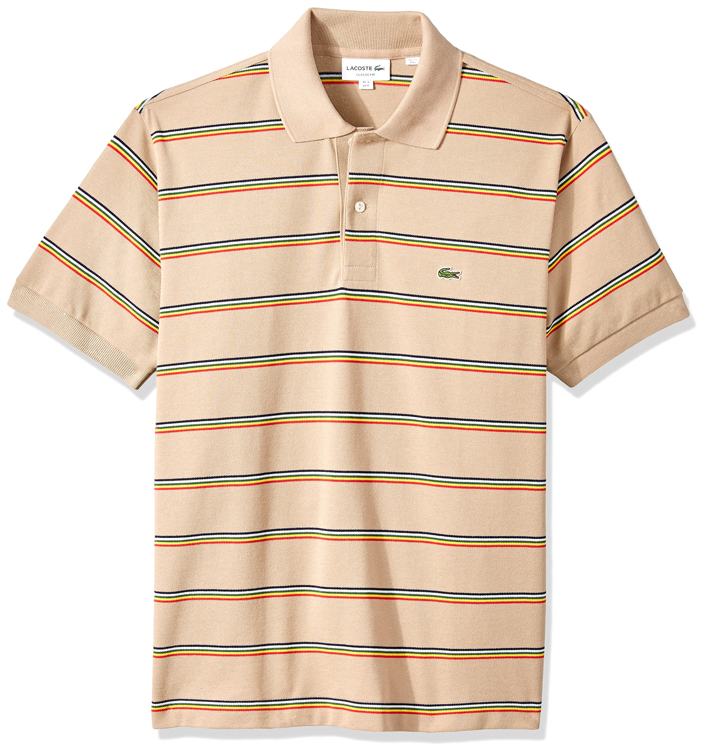 Lacoste Men's Short Sleeve Striped Pique Regular Fit Polo, PH4565, Kraft Beige/Multico, XXL