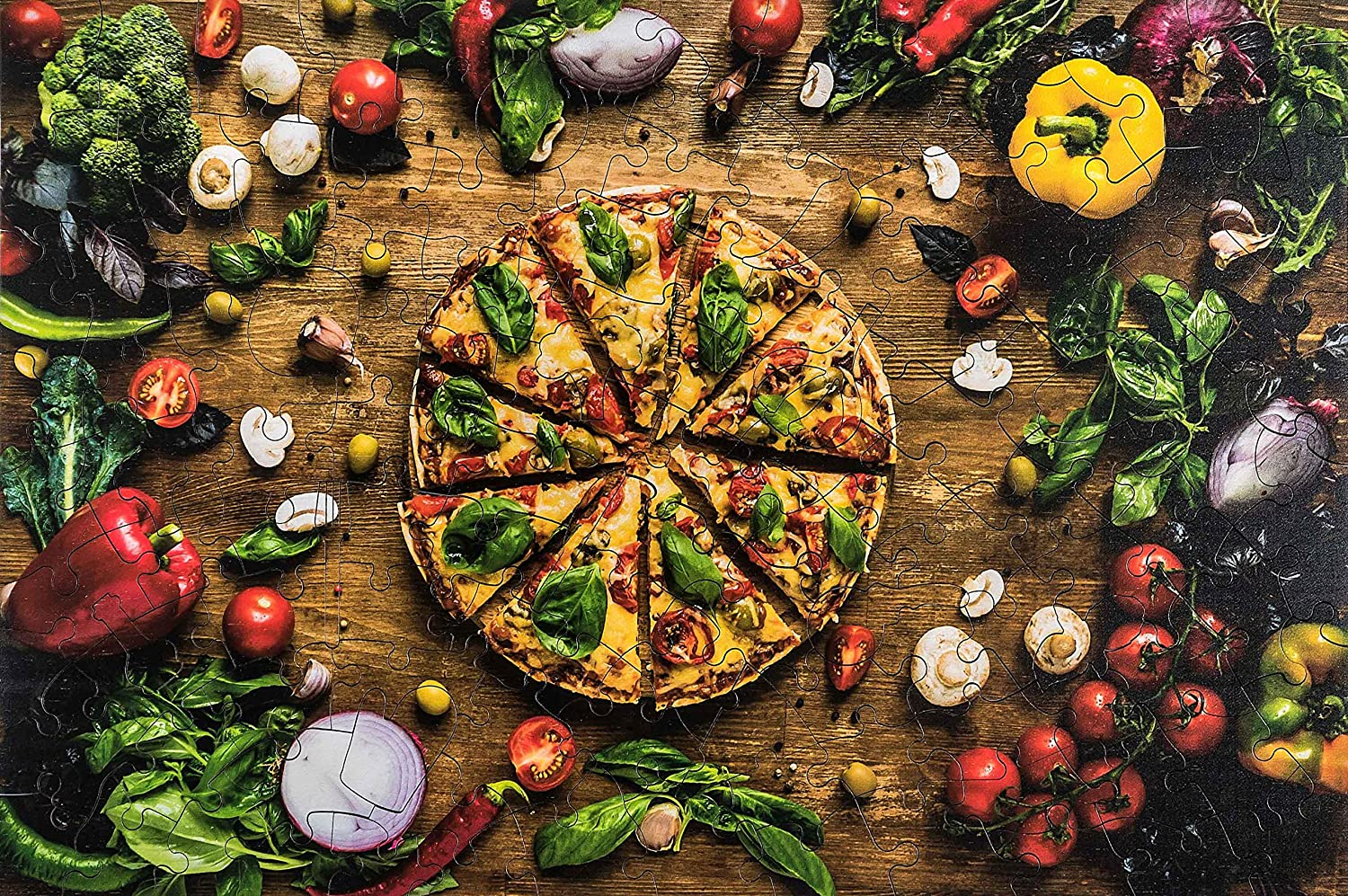 Wooden Jigsaw Puzzles - Pizza Fast Food - 137 Irregular Pieces - Colorful Puzzle for a Real Pizza Lover – BasisWood