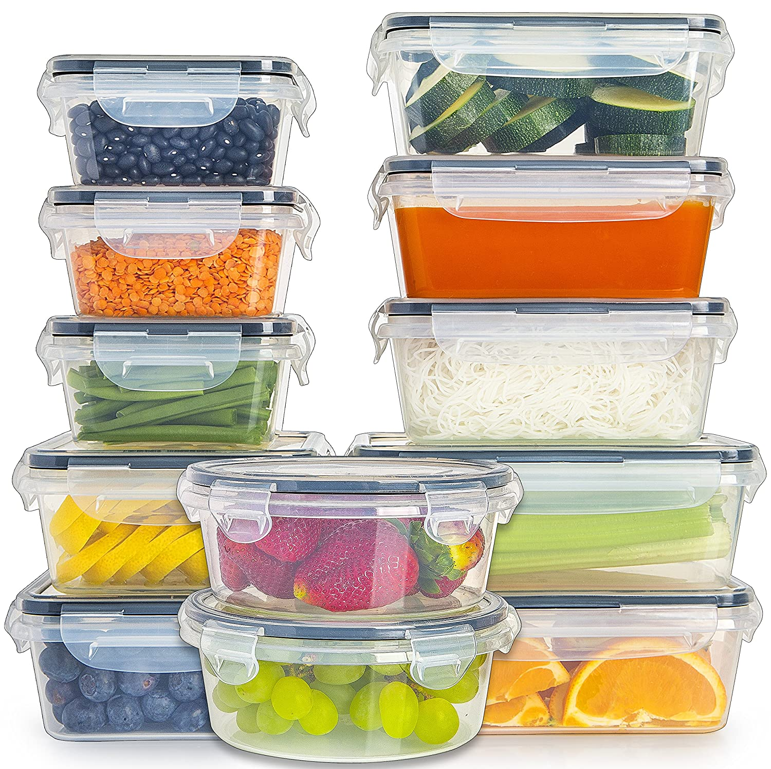 12-Pack] Food Storage Containers with Lids - Plastic Food Containers with lids - Plastic Containers with lids - Airtight Leak Proof Easy Snap