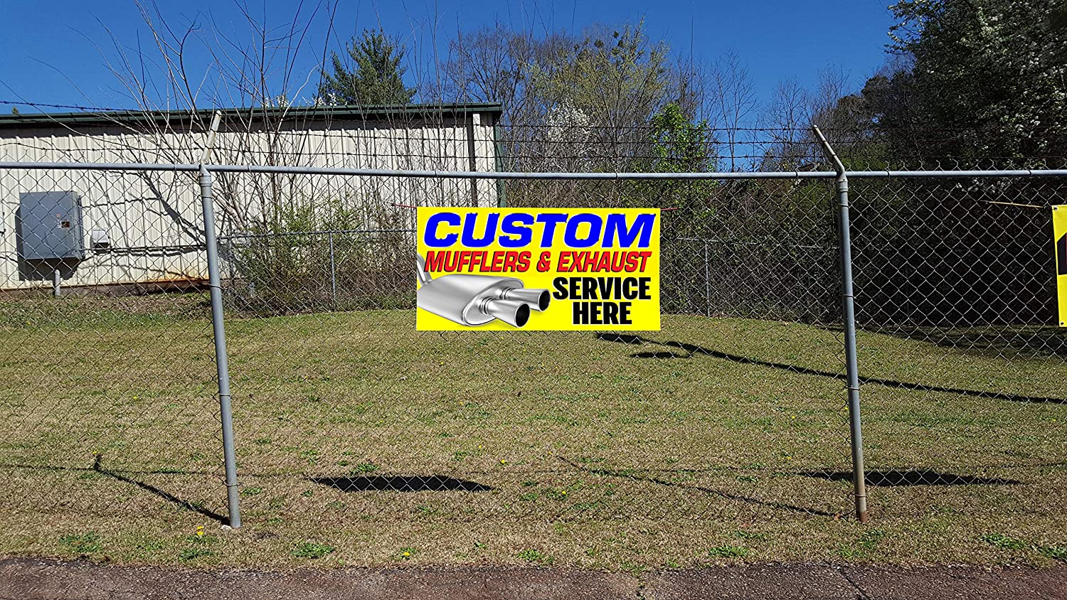 Custom Industrial Vinyl Banner Multiple Sizes Auto Body /& Paint Style A Personalized Text Here Automotive Outdoor Weatherproof Yard Signs Red 8 Grommets 44x110Inches