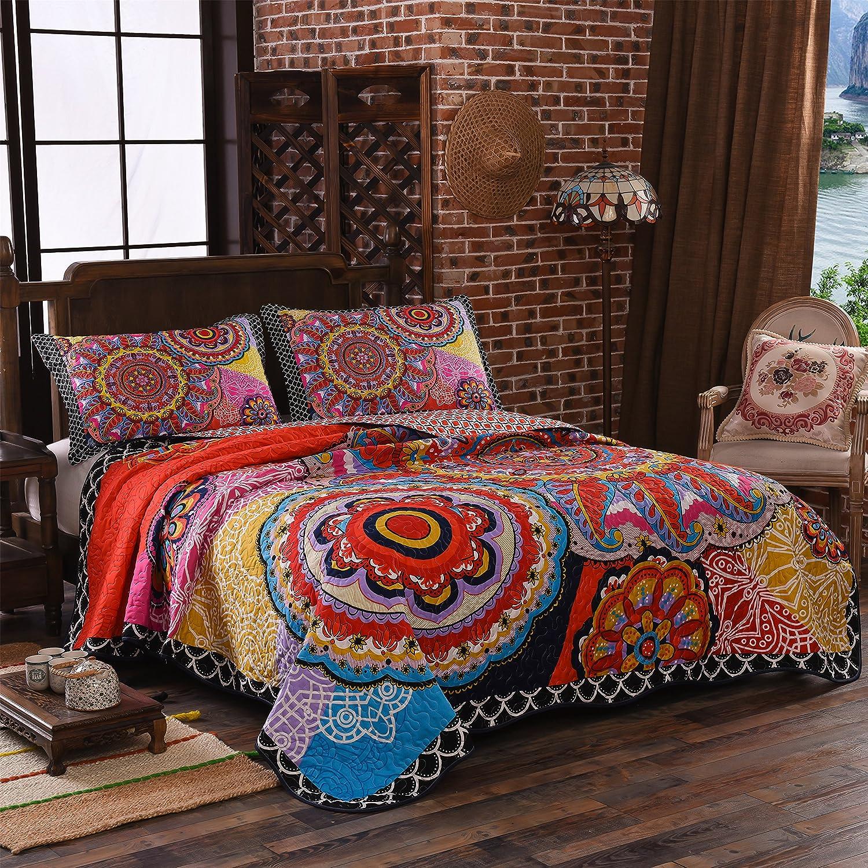 Lamejor Quilt Set Queen Size Tropical Bohemian Style Mandala Pattern Reversible Comforter Set 3 Piece Bedspread Coverlet Set Microfiber Color Orange Home Kitchen