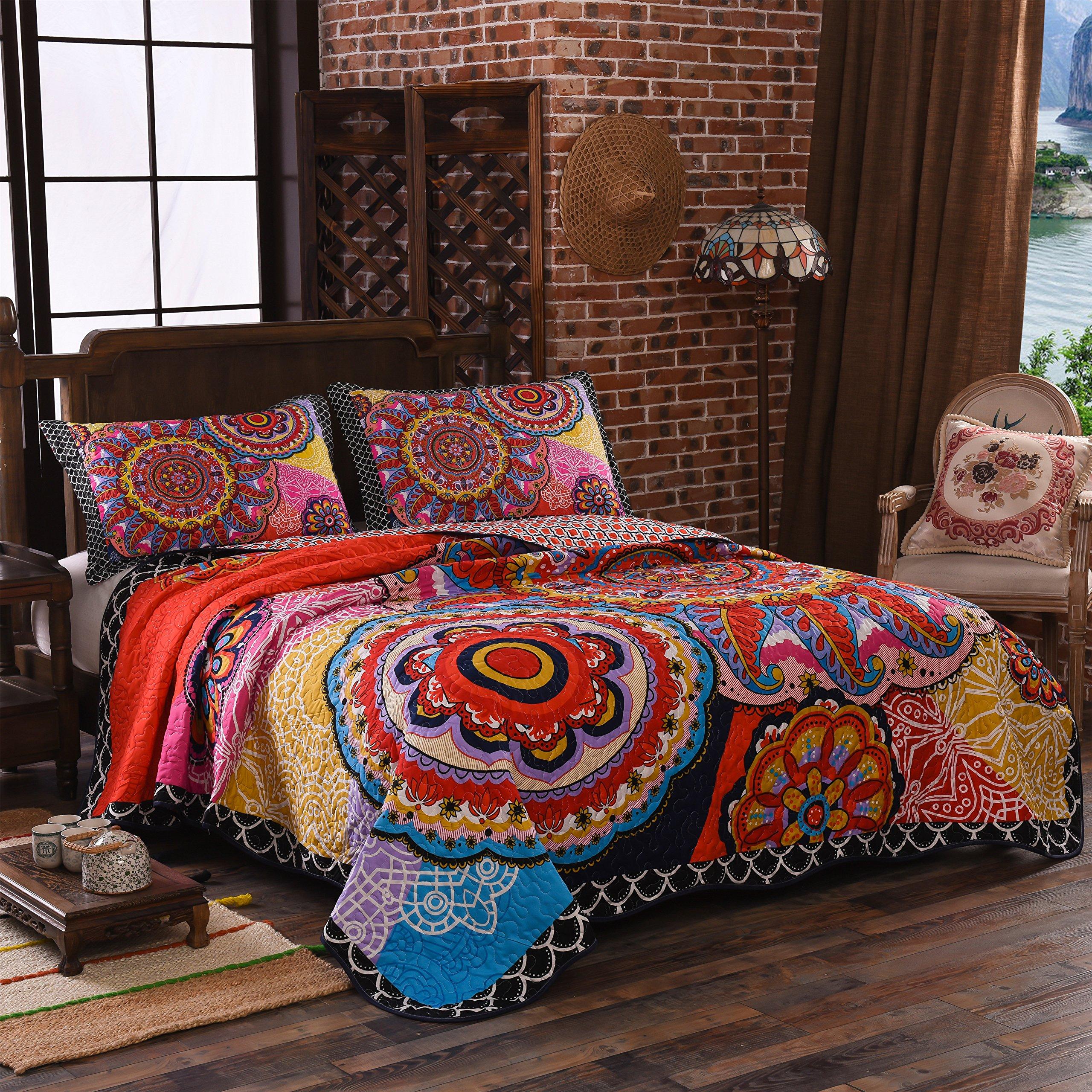 LAMEJOR Quilt Set Queen Size Tropical Bohemian Pattern Reversible Comforter Set 3-Piece Bedspread Coverlet Set Microfiber Color Orange