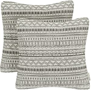 Mika Home Pack of 2 Decorative Square Throw Pillow Covers Cushion Cases for Sofa Couch, Bohemian Striped Geometric Pattern, 18x18 Inches, Gray Cream