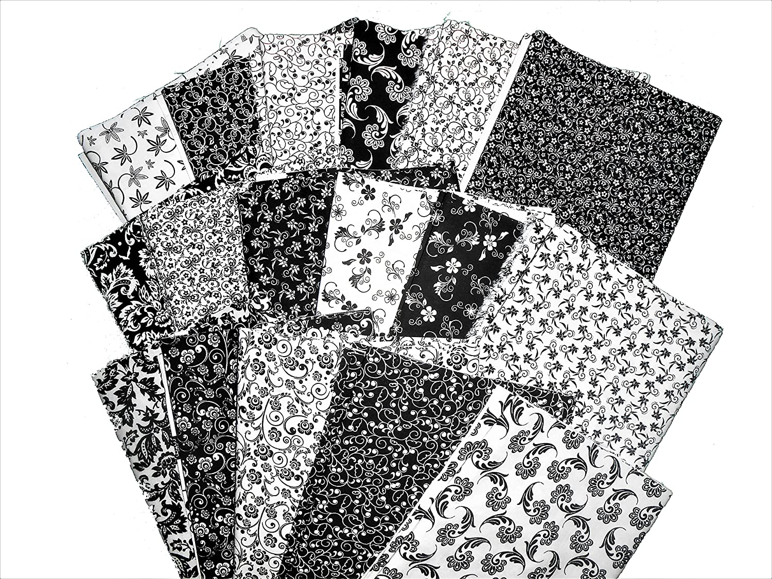 17 Beautiful Black and White Fat Quarters MDG